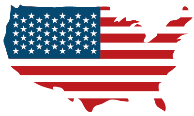 Flag in shape of america